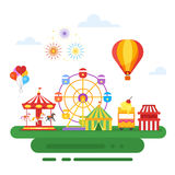 Vector flat style illustration of amusement park for kids. On white background Stock Images