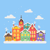 Vector flat style illustration of christmas winter city Stock Photography