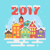 Vector flat style illustration of christmas winter city. Royalty Free Stock Image