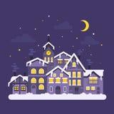 Vector flat style illustration of christmas winter night city. Royalty Free Stock Photo
