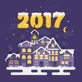 Vector flat style illustration of christmas winter night city. Royalty Free Stock Photos