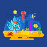 Vector flat style illustration of coral reef with fish. Icon for web. Isolated on blue background Royalty Free Stock Images