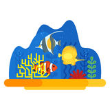 Vector flat style illustration of coral reef with fish. Icon for web. Isolated on white background Stock Photos
