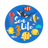 Vector flat style illustration of coralreef, fish and sea life. Royalty Free Stock Images