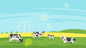 Cows graze in a field. Vector flat style illustration of cows graze in a field. Good sunny day. Nature background stock illustration