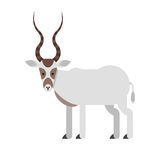 Vector flat style illustration of desert Addax antelope. royalty free illustration