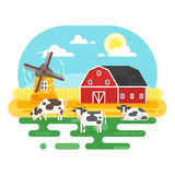 Vector flat style illustration of farm with cows. Stock Photos