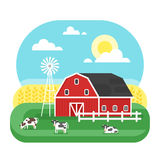 Vector flat style illustration of farm with cows. Stock Image