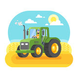 Vector flat style illustration of farmer working in farmed land Stock Images