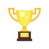 Golden cup for winner. Vector flat style illustration of golden cup for winner. Icon for web. Isolated on white background Stock Photography