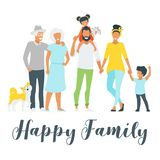 Happy family members vector illustration