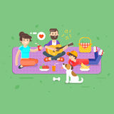 Vector flat style illustration of happy family picnic in the park Stock Photography