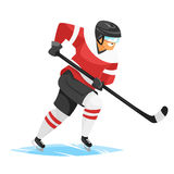 Vector flat style illustration of hockey player. stock illustration