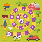 Kids farm board game. Vector flat style illustration of kids farm board game template. For print. Square composition stock illustration