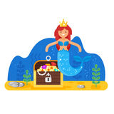 Vector flat style illustration of mermaid near the treasure chest deep in the sea. Stock Images