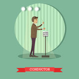 Vector flat style illustration of musical conducter with baton Royalty Free Stock Photo