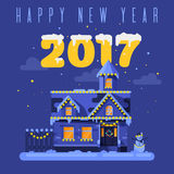 Vector flat style illustration of night winter holiday house. Icon for web. `Happy new year 2017` title Stock Images