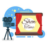 Vector flat style illustration of old cinema Royalty Free Stock Photos