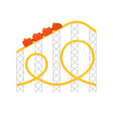 Vector flat style illustration of roller coaster.Icon for web vector illustration