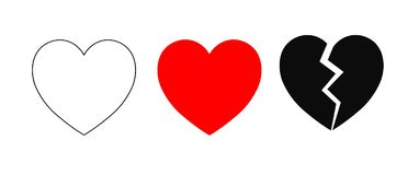 Heart icons. Vector flat style illustration set collection of 3 hearts isolated on white background - contour, red silhouette and broken heart. High quality full