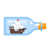 Vector flat style illustration of ship in a glass bottle. Royalty Free Stock Photography