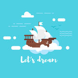 Vector flat style illustration of ship in the sky. Lets dream Stock Photography