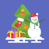 Vector flat style illustration with snowman, presents. And Christmas tree. Template for New Year greeting card. Holiday greetings Royalty Free Stock Photo