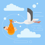 Vector flat style illustration of stork caring a newborn baby in the sky. Stock Photography