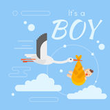 Vector flat style illustration of stork caring a newborn baby Stock Photos