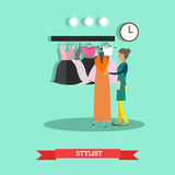 Vector flat style illustration of stylist, fashion clothing designer. Vector illustration of young woman fashion clothes designer, tailor. Clothing design studio Stock Photos