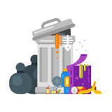 Vector flat style illustration of trash. Spoiled food. Stock Image