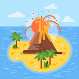 Vector flat style illustration of volcano on tropical island. Royalty Free Stock Photos