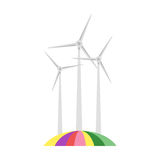 Vector flat style illustration of wind mill on colorful field. Royalty Free Stock Photos