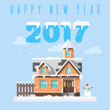 Vector flat style illustration of winter holiday house with snowman. Icon for web. Inscription `Happy new year 2017 Stock Image