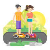 Vector flat style illustration of young man and woman riding an battery-powered electric vehicle in a park. Stock Photos