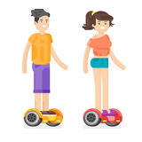 Vector flat style illustration of young man and woman riding an battery-powered electric vehicle. Royalty Free Stock Photos