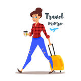 Vector flat style illustration of young pretty woman with a travel case. Stock Photography