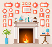 Vector flat style interior with a fireplace and a wall decorated with paintings. The interior design of the fireplace room with different frames on the wall Stock Image