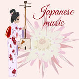 Vector flat style japanese music template Stock Photos