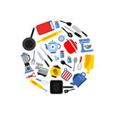 Vector flat style kitchen utensils gathered in circle illustration. Kitchen equipment, kitchenware knife and pot, plate and kettle Royalty Free Stock Photos