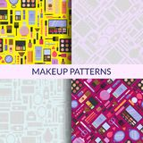 Vector flat style makeup and skincare monochrome patterns set stock illustration