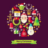 Vector Flat Style Merry Christmas Objects Concept Stock Image