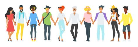 People holding hands royalty free illustration