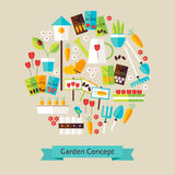 Vector Flat Style Nature Gardening and Environment Objects Conce Stock Photography