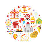 Vector flat style round composition of amusement park symbols. Isolated on white background Royalty Free Stock Photo