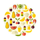 Vector flat style round shape food background Royalty Free Stock Photos