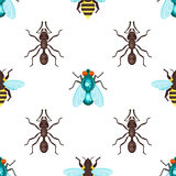 Vector flat style seamless pattern with ants, bees and fly. Royalty Free Stock Images