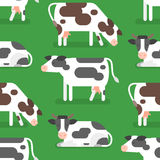 Vector flat style seamless pattern with cow. Icon for web. Isolated on green background Stock Illustration