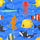 Vector flat style seamless pattern with exotic fish. Icon for web. Isolated on blue background. Children`s wallpaper Stock Image