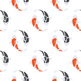 Vector flat style seamless pattern with Japanese koi fish. Stock Photography